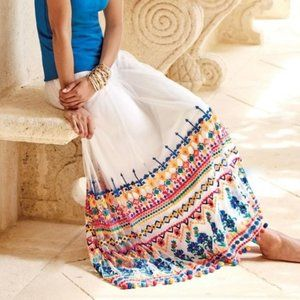 Soft Surroundings Solomeo Embroidery White Skirt S